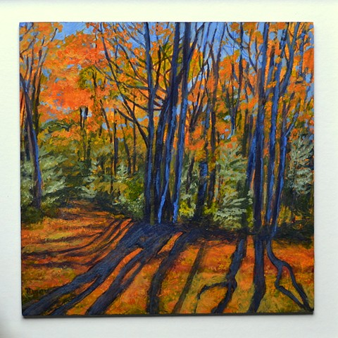 Acrlyic landscape painting of autumn trees with long shadows by Canadian artist, Janet Moore