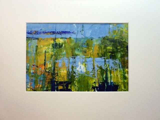 acrylic abstract landscape monoprint painting titled, Spring Pond #6, by Canadian artist, Janet Moore