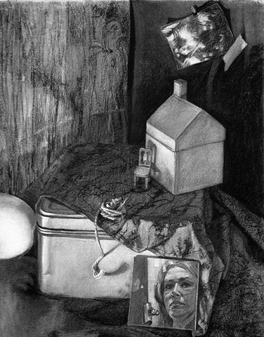Still life charcoal drawing on paper