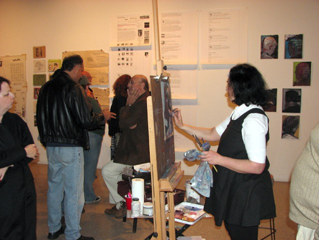 Live portrait painting, closing reception.