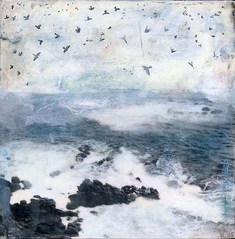 Angela Petsis; Encaustic mixed media; encaustic collage; encaustic; encaustic painting; collage; mixed media painting; mixed media artist; nature art; ocean art