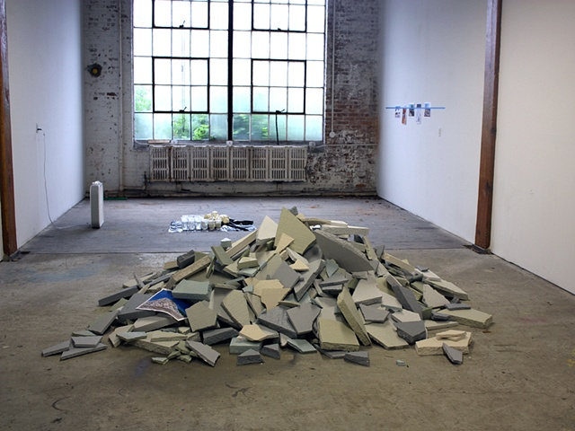 sculpture of styrofoam rubble pile by Rena Leinberger