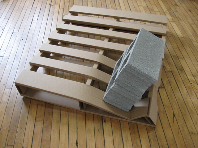 cardboard pallet sculpture by Rena Leinberger
