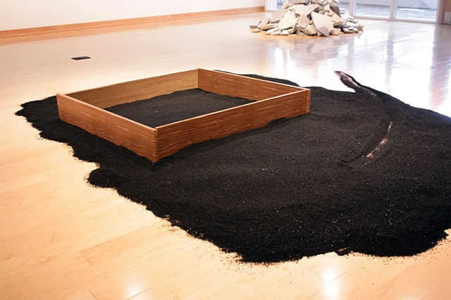 After Robert Smithson, sandbox, Rena Leinberger, made of fake materials