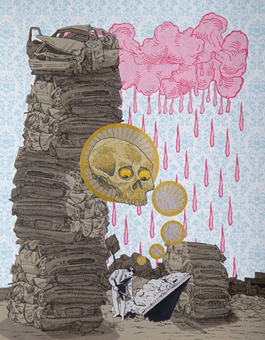 multi-color screen print with skull, radioactive cload, and bomb shelter.