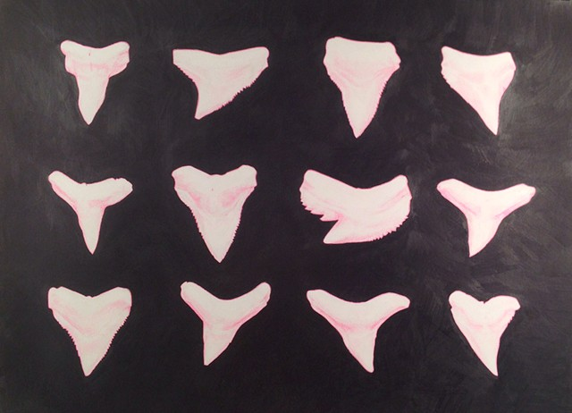neon pink shark teeth with heavy graphite