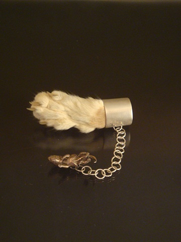 sterling silver, brooch, shibuishi mouse, taxidermy cat paw, momento mori