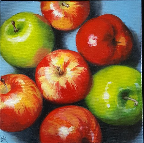 Top Down Apples on Blue