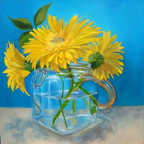 Yellow Gerbers in a Mason Jar
