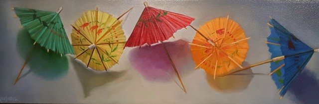 Umbrellas in a Line