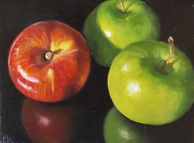 Three Apples on Black