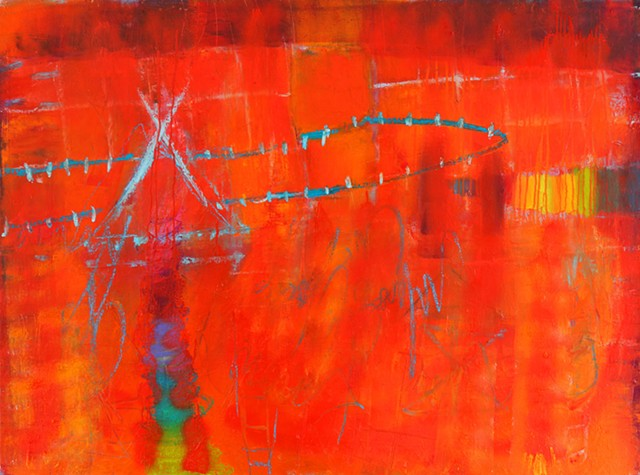 Abstract Mixed Media Oil Painting,  with saturated color and gestural marks