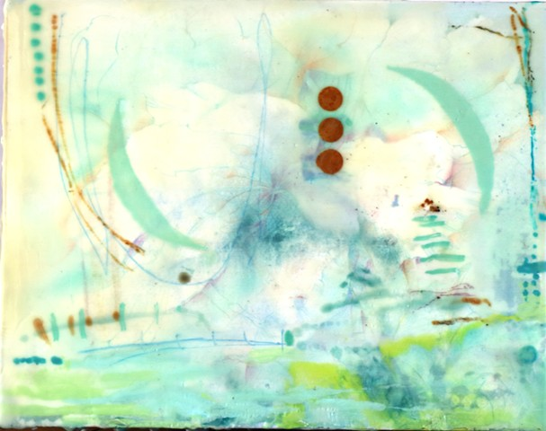 Abstract , mixed media encaustic, high key palette with collage