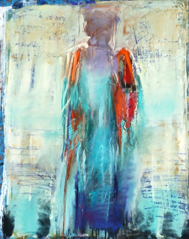 Abstracted Figure, textured, vibrant color, symbolic