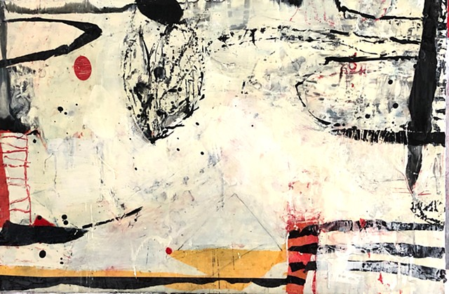 Playful, Whimsical Abstract Encaustic Collage