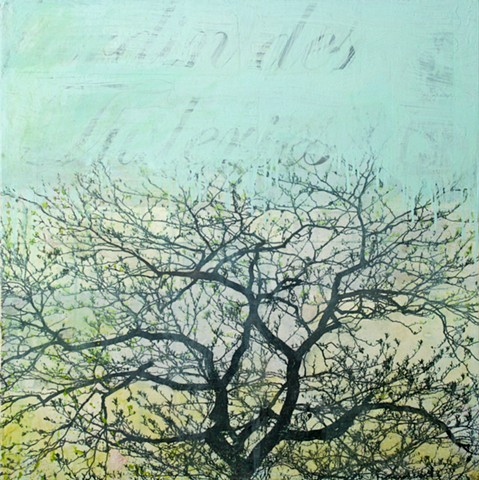 oil painting and photo transfer print of Paris tree on canvas by Raleigh, North Carolina artist Richard Garrison