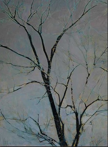 Acrylic and photo transfer print on canvas of beech tree by Raleigh, NC artist Richard Garrison