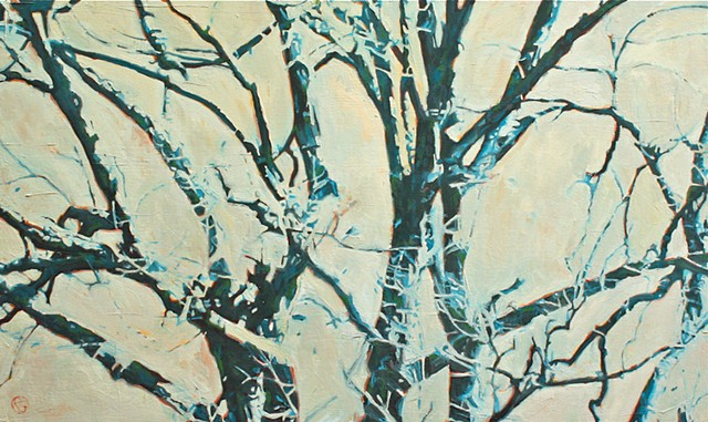 Large Tree painting in oil on canvas by Raleigh, North Carolina painter Richard Garrison