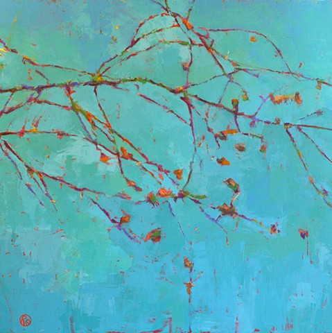 Abstract tree oil painting on canvas by Raleigh, North Carolina artist Richard Garrison