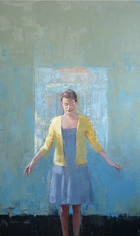 standing female figure in oil paint and mixed media collage by North Carolina artist Richard Garrison