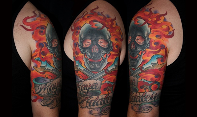 flamin skull wrenches script tattoo by Danny Gordey Ink Machine Edmonton Canada