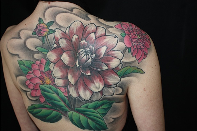 dahlia flower cover up tattoo by Danny Gordey Ink Machine Edmonton Canada