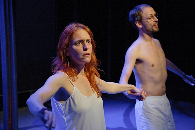 The play closes with the couple underwater, realizing its time to rethink their path of life.