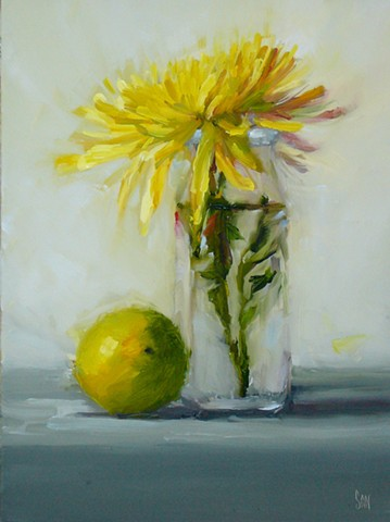 Yellow Zinnia with Lemon
