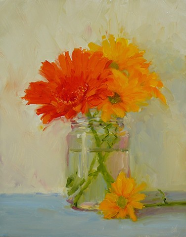 Red Gerbera with Yellow Daisies