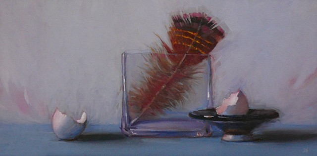 Feather in Square Vase
