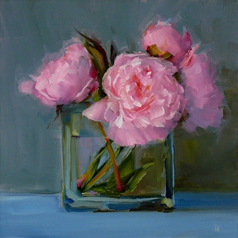 Peonies in Square Vase
