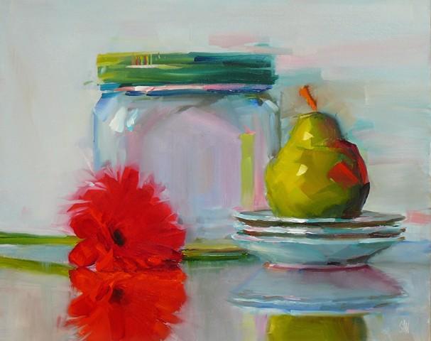 Big Jar with Gerbera and Pear