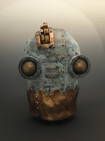"Impossible Winterbourne  ""SteamBot Face"" Bronze Petina w/Gold"