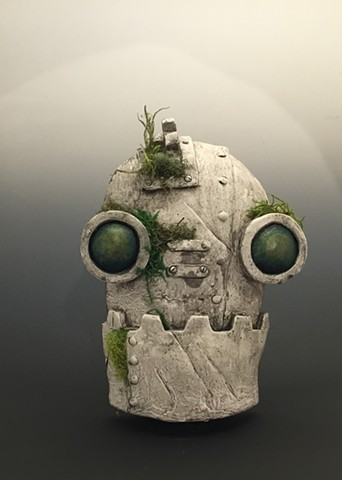"Impossible Winterbourne  ""SteamBot Face"" Stone with Moss"