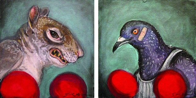 "SOLD  ""Squirrel vs. Pigeon"""