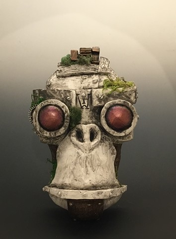 "Impossible Winterbourne  ""MechMonkey Face"" Stone with Moss"