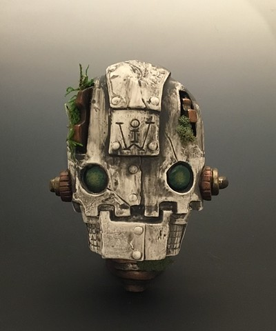 """Impossible Winterbourne  """"SkullBot"""" Stone with Moss Green Eyes"""