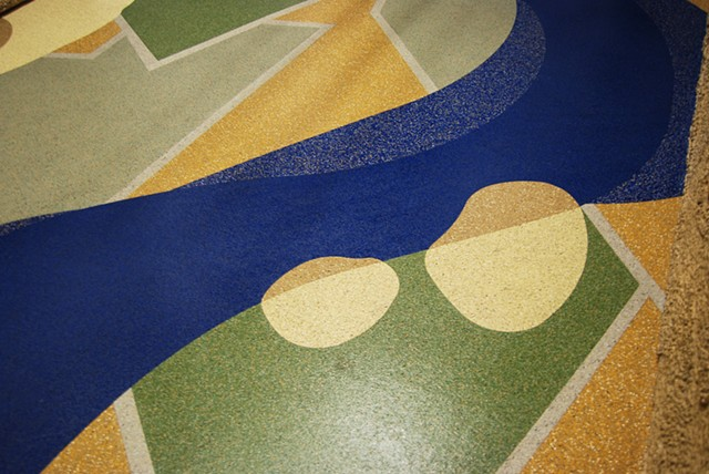 Public Art at the Boise Watershed Boise Idaho, Eco Floor, recycled rubber floor