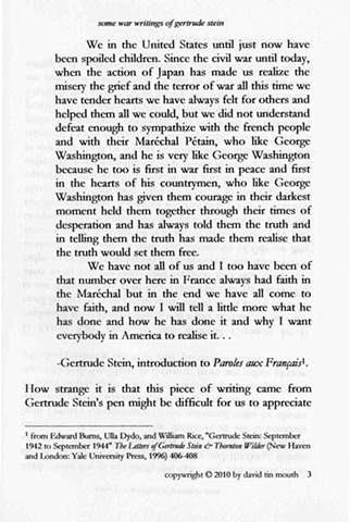 some war writings of gertrude stein  chapter one, page three