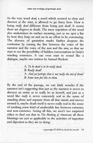 some war writings of gertrude stein  chapter one, page fourteen