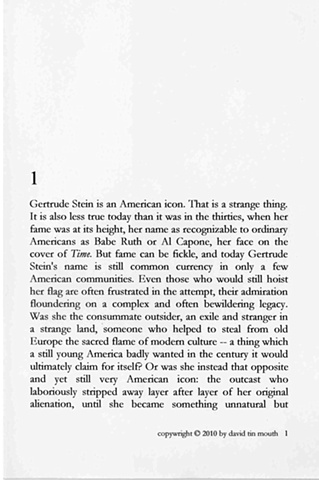 some war writings of gertrude stein   chapter one, page one