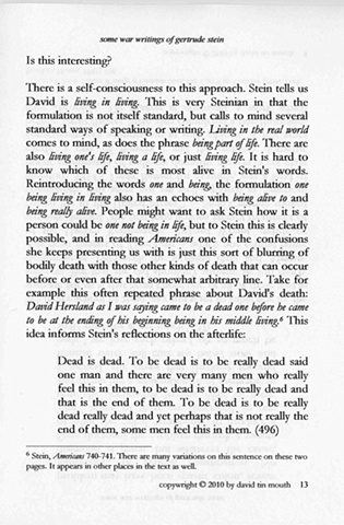 some war writings of gertrude stein  chapter one, page thirteen