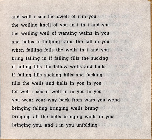 and well i see the swell of i in you  from brazilia you  pas de chance press, 2004
