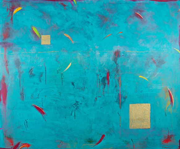 "Karen Banker's blue abstract painting entitled ""Outside the Box"""