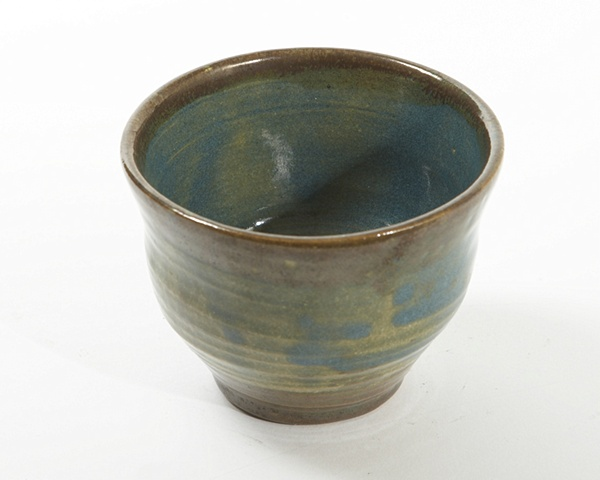 Blue green bowl with metallic trim
