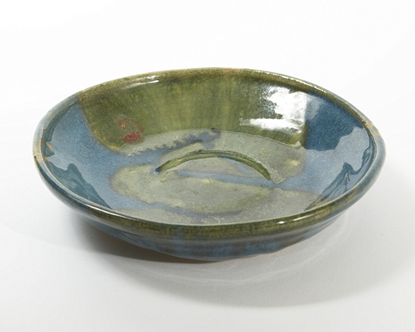 Green and blue bowl plate