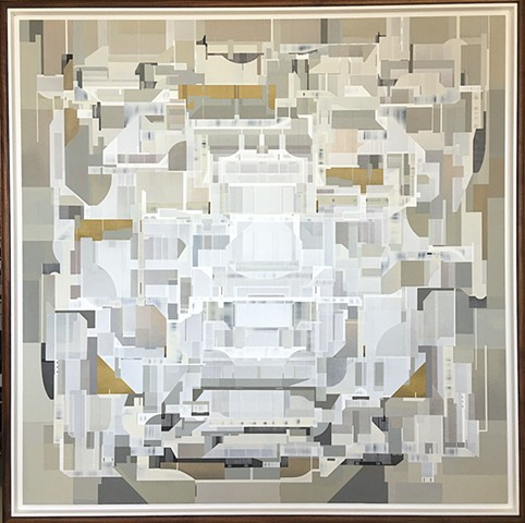 ABSTRACT GEOMETRIC ART BY IRISH PAINTER JAMES KENNEDY /SPACES FOR THE MIND AND EYE. BRITISH MUSEUM CONTEMPORARY COLLECTION