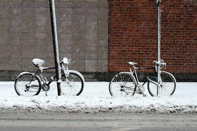 Two Bicycles With Snow