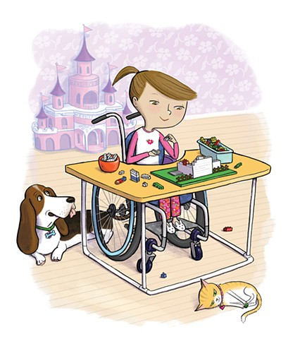 Violet Lemay, Yes I Can, wheelchair, Magination Press, spina bifida, disablilty, strong kids, strong girl, illustration, basset hound, cat, legos, kidlit