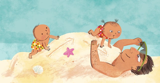 Violet Lemay, children's book illustrator, beach babies, kidlitartist, adorable illustration, adorable babies, dad and babies
